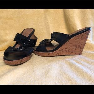 Faded Glory black Wedge Sandals size7